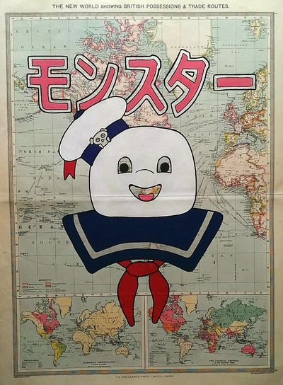 'Apex Predator', acrylic and ink on antique map Art Painting Map Cartography Ghostbusters Mr Stay Puft