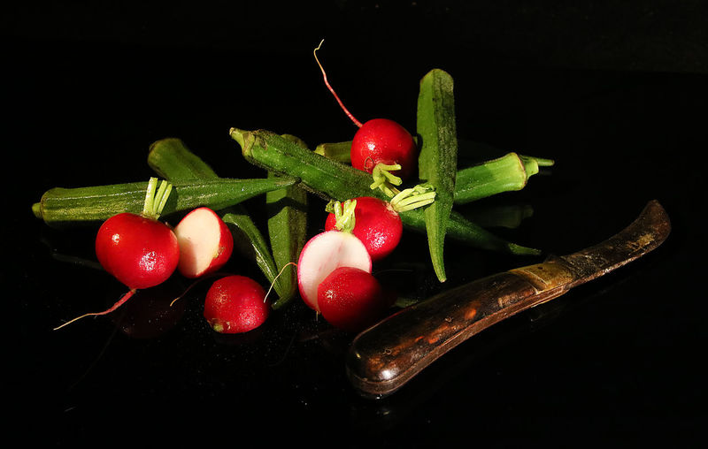 Colourful Knife Reflection Black Background Close Up Food Freshness Okra Old Knife Radishes Raw Food Still Life Studio Shot Vegetable