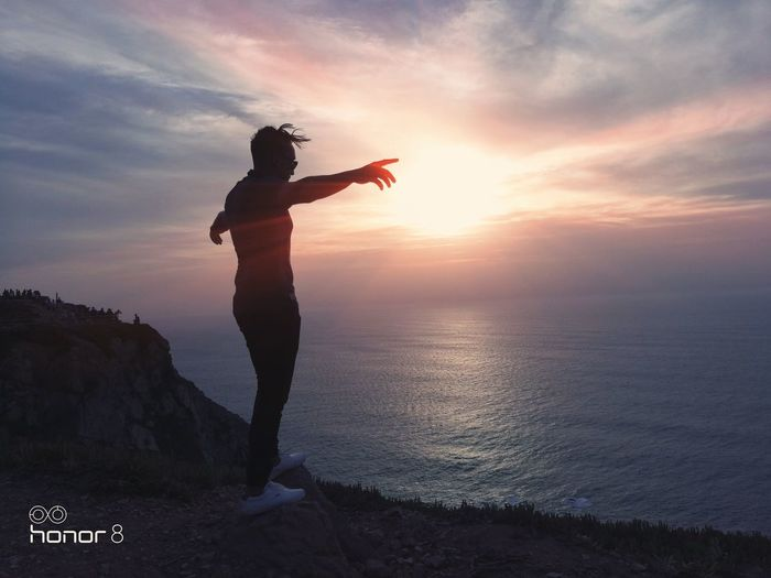 Simple moments are never underrated, photo taken using an Honor 8 Mobile Phone, Portugal Ainadin Chamane Sunset Sea Beauty In Nature Tranquil Scene Lifestyles One Person Cabo Da Roca