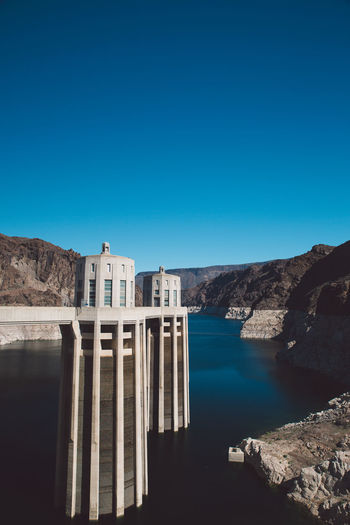 Architecture Architecture Beauty In Nature Blue Clear Sky Colorado River Construction Copy Space Dam Day Electricity  Hoover Dam Hydroelectric Power Lake Mountain Nature Nevada No People Outdoors Reservoir Rock - Object Scenics Tranquil Scene Tranquility Water