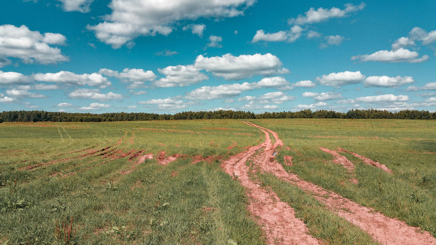 the world in the painters eyes Dirt Road Countryside Farmland Fieldscape Russia Summer Sunny Cumulus Cloud Colorful Rural Scene Agriculture Field Crop  Farm Sky Landscape Cloud - Sky Cultivated Land Agricultural Field Plantation Cultivated