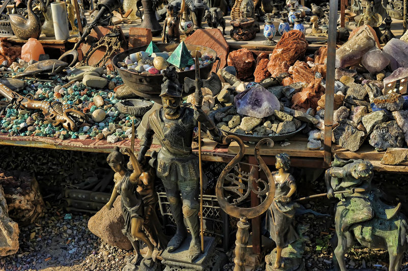 Statues for sale at market stall