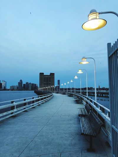 Lights Sky Architecture Street Light Lighting Equipment Street Built Structure Water City Clear Sky In A Row Outdoors