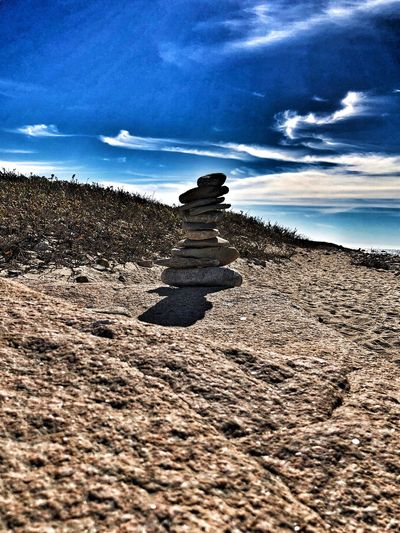Perspectives On Nature Dramatic Beach Rock Stacking Cloud - Sky Sand Sky Beach Nature Day No People Tranquility Outdoors Beauty In Nature EyeEm Ready   Go Higher The Great Outdoors - 2018 EyeEm Awards