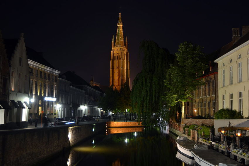 Flandres  Architecture Bruges Building Building Exterior Built Structure Canal City Illuminated Night Place Of Worship Religion Spirituality Travel Destinations Water