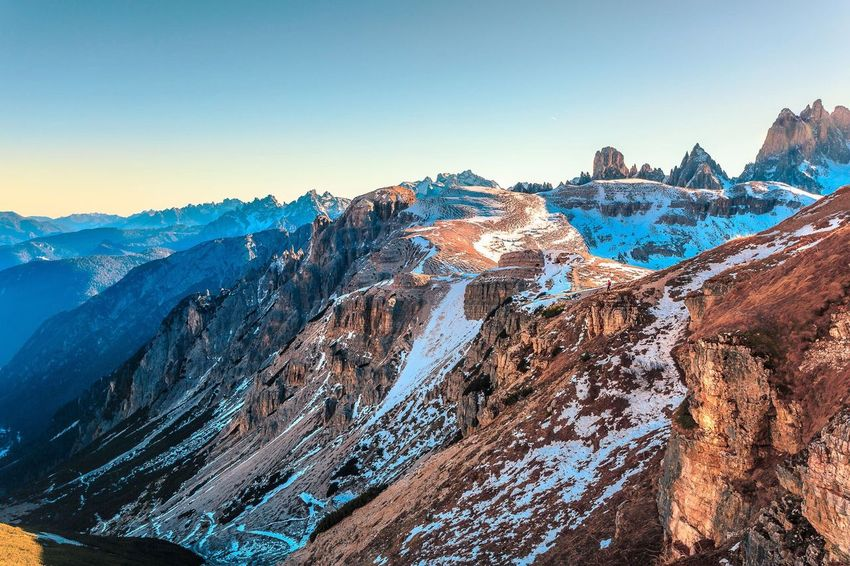 Mountain Snow Beauty In Nature Winter Cold Temperature Nature Scenics Mountain Range Tranquility Tranquil Scene Blue No People Outdoors Landscape Sky Day Glacier Dolomites, Italy Hiking Adventure