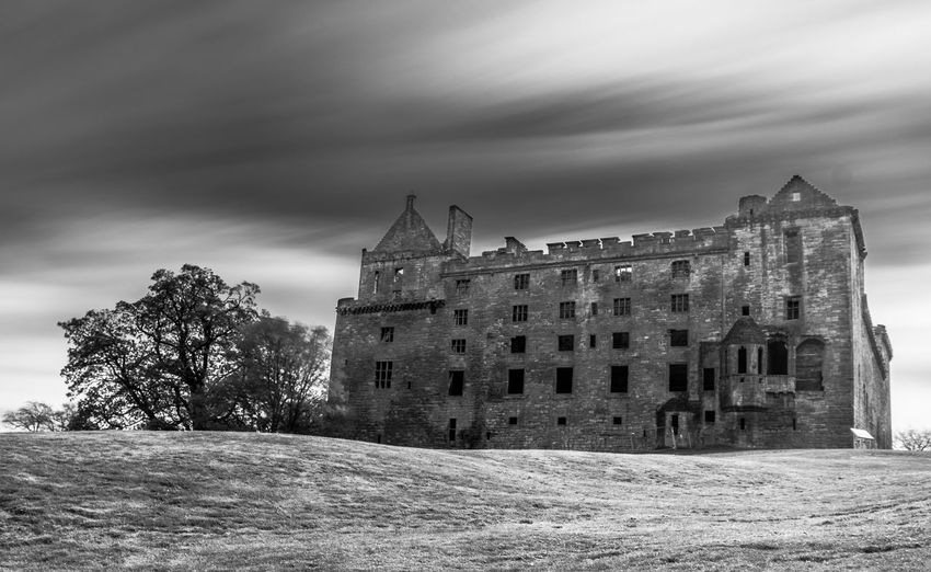 A long exposure of the north facade of Linlithgow Palace, in Linlithgow, West Lothian, Scotland Black And White Central Scotland Historic Scotland Linlithgow Linlithgow Palace Listed Building Long Exposure Lowlands Mary Queen Of Scots Mono Monochrome Palace Renaissance Ruins Scotland Scottish Uk West Lothian
