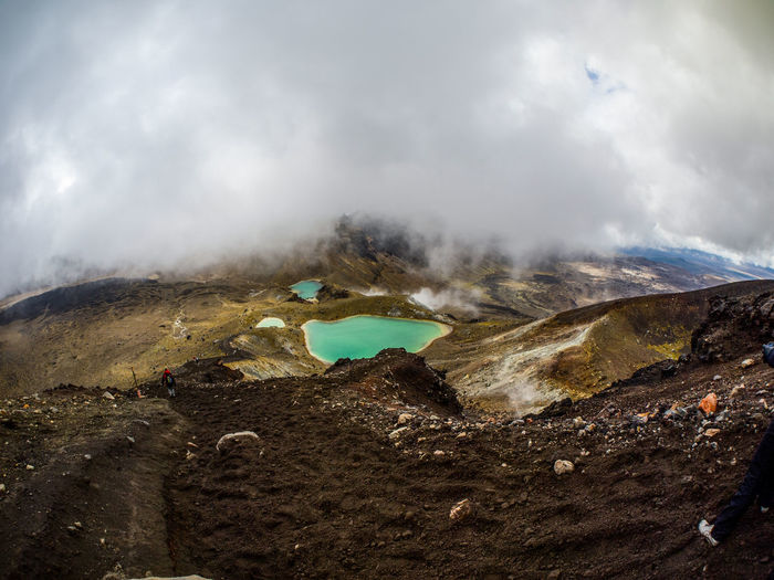 High Angle View Of Hot Spring On Volcanic Landscape