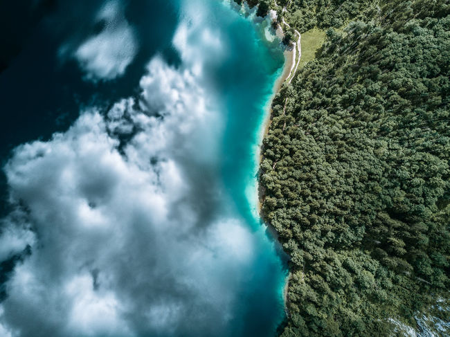 The Great Outdoors - 2018 EyeEm Awards Aerial View Beauty In Nature Cloud - Sky Day Environment Flowing Water Green Color High Angle View Idyllic Land Nature No People Non-urban Scene Outdoors Power In Nature Scenics - Nature Sea Sky Tranquil Scene Tranquility Turquoise Colored Water
