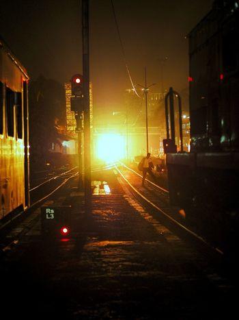 Railroad Track Train - Vehicle Transportation Rail Transportation Mode Of Transport Public Transportation Night