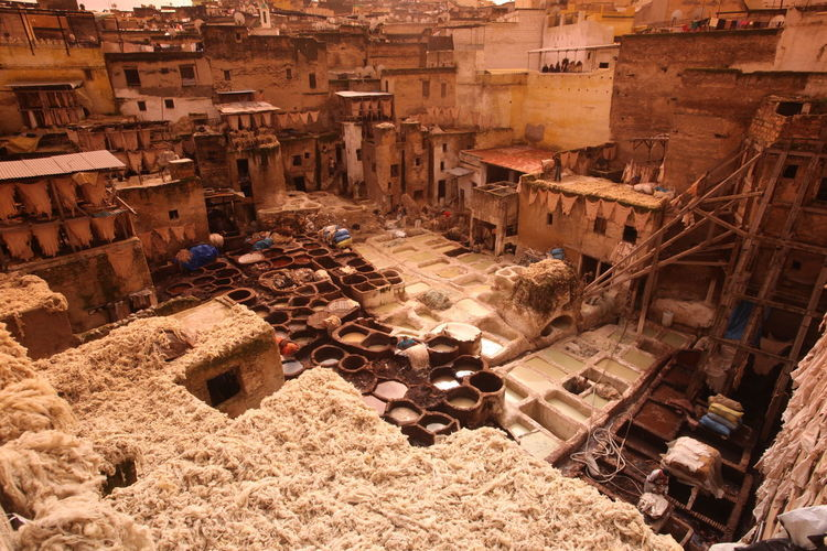 High Angle View Of Traditional Leather Tanning Area By Buildings