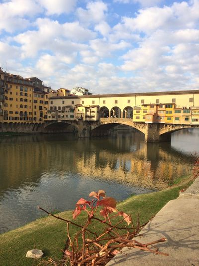 Architecture Bridge - Man Made Structure Built Structure River Connection Water Building Exterior Sky Outdoors Cloud - Sky City Nature Bridge Day Covered Bridge No People Cityscape Firenze, Italy Old Bridge Reflections In The Water