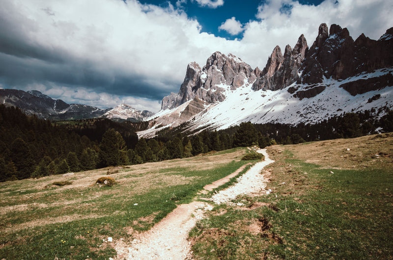 Mountain Cloud - Sky Sky Scenics - Nature Beauty In Nature Environment Landscape Tranquil Scene Mountain Range Tranquility Nature Day Snow Non-urban Scene Grass Plant Idyllic No People Cold Temperature Mountain Peak Snowcapped Mountain South Tyrol Travel Photography
