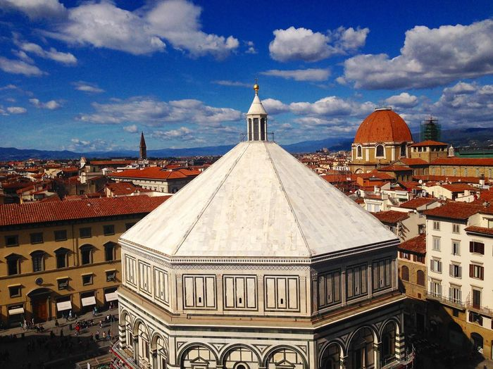 Taken from Giotto bell tower view of the baptistery, over the rooftops of Florence to the hills in the distance Italy Rooftops Baptistery Florence Architecture Building Exterior Built Structure Building Sky Place Of Worship Religion Travel Destinations Tourism City No People Ornate