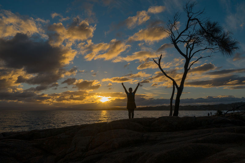 Watching the Sunset Freycinet National Park. Coles Bay Australia Beach Beauty In Nature Cloud - Sky Day Female Freycinet Freycinet National Park Full Length Horizon Over Water Nature One Person Outdoors Real People Scenics Sea Silhouette Sky Sunset Tasmania Tassie Tranquil Scene Tranquility Tree Water