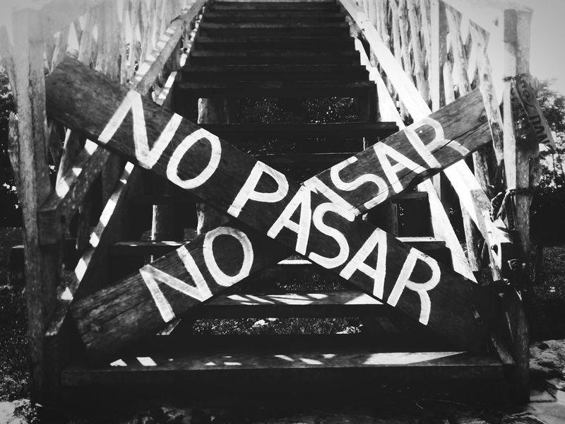 No pasar Day Road Sign Monochrome Urban Photography Blogger Mexico Walking Black Background Dark No People Sign No Pasar Blackandwhite Blancoynegro