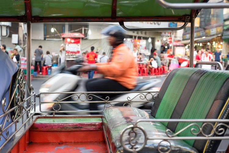 Blurred Motion Motion Transportation Real People City Sitting People Mode Of Transportation Group Of People City Life Incidental People Architecture Street Day Outdoors Seat Travel on the move Occupation Adult Thailand Travel Destinations Travel Photography Thailandtravel