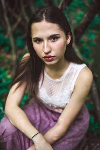Vienna Power Beauty Beautiful Woman Girl Mystery Forest Woods Young Women Child Portrait Beauty Teenager Girls Red Lipstick WoodLand Fallen Tree Lip Gloss Eyeliner Human Lips Pine Woodland Tree Trunk Eye Make-up Lipstick