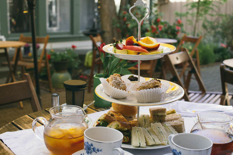 Close-up of food on cakestand
