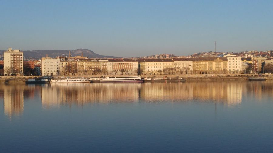 Calm Tranquility Danube Danube In Budapest Riverside Budapest Reflection House Mountain Residential Building No People