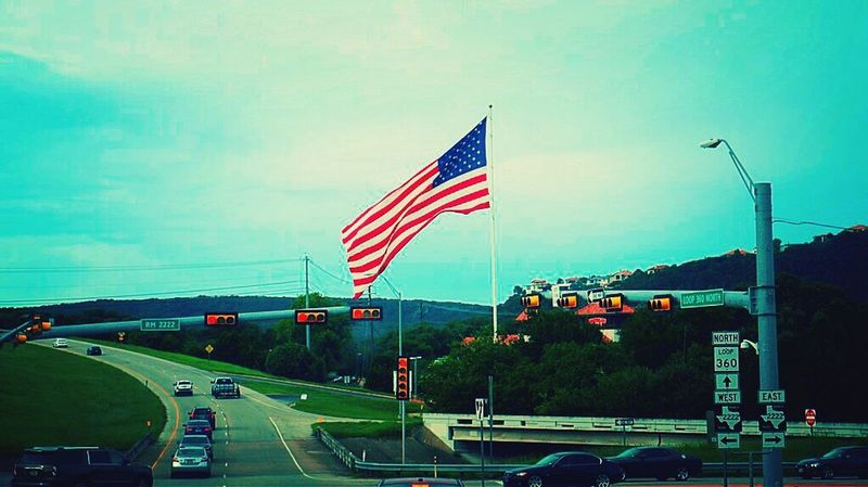 United We Stand United States Flag Picture Of America Patriotism Transportation Car No People Outdoors Sky Day Architecture