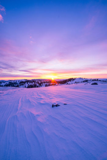 Snowy landscape on top of the Velika Planina at sunrise Slovenia Beauty In Nature Cloud - Sky Cold Temperature Colorful Dawn Environment Frozen Frozen Water Ice Landscape Nature No People Scenics - Nature Sky Snow Sun Sunrise Tranquil Scene Tranquility Water Winter