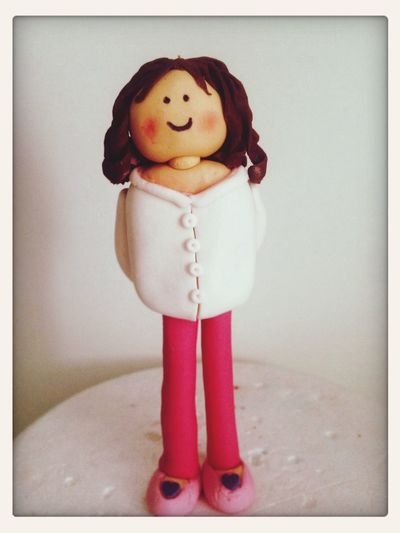 Fondantfigure Cute Girl Handmade Hello World