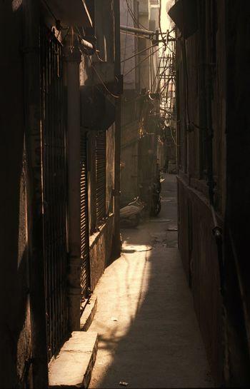 Shadow of sunlight on walkway