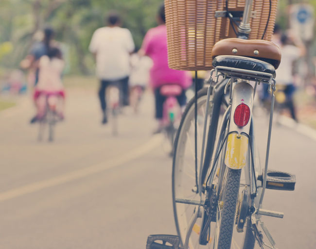 Close-up of bicycle on road
