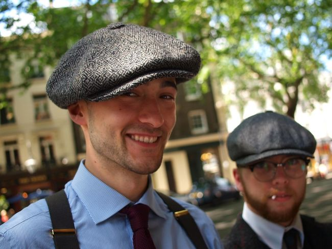 1930's in 2018. Central London. 02/06/2018 Hats Cloth Caps Portrait Retro Styled Retro 1930 Fashion Peaky Blinders Fashionable Smart London News Stevesevilempire Steve Merrick Olympus Zuiko Fashion Portrait Males  Young Men Adult Young Adult Cap Clothing Real People Hat People Smiling Flat Cap Looking At Camera Two People Mid Adult Men