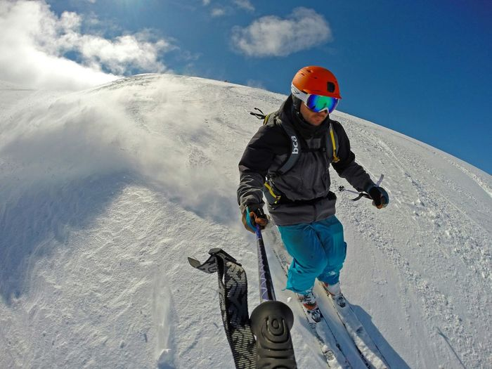 Low Angle View Of Man Skiing