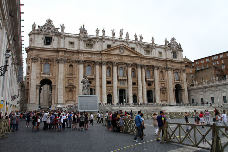 Vatican Architectural Column Architecture Building Exterior Built Structure City Crowd Group Of People History Large Group Of People Leisure Activity Lifestyles Men Nature Outdoors Real People Sky The Past Tourism Tourist Travel Travel Destinations Women