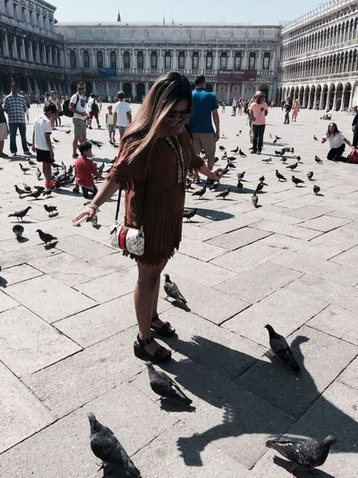 Camera: iPhone 6 Model: Me Large Group Of People Lifestyles Shadow Men Person Sunlight City Travel Destinations Tourism Footpath City Life Casual Clothing Town Square Day Vacations In Front Of Outdoors Paving Stone Doves, Birds San Marco Venezia