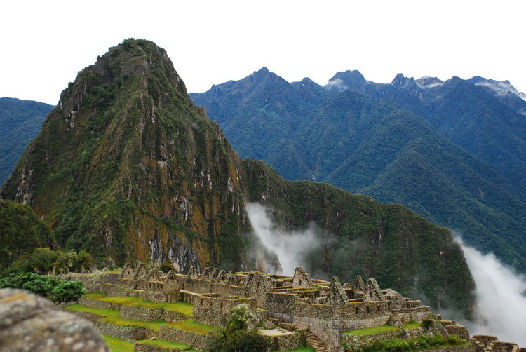 Scenic View Of Machu Picchu Against Sky In Foggy Weather