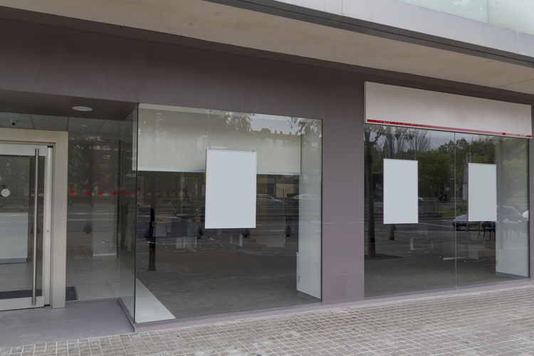 Blank billboard mock up in an office Architecture Built Structure Window No People Building Exterior Day Outdoors Building Office Building Exterior Office Blank Mock Up Billboard Adventure Advertising Street Glass - Material Vitrine Mockup Bank Branch Office