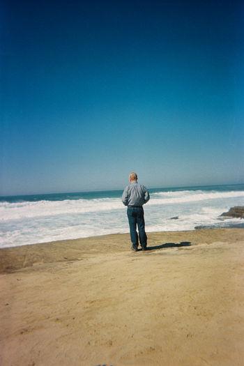 Alone Analogue Photography Cali California California Dreamin EyeEmNewHere Ishootfilm Man Pacific View WestCoast Analog Beach Film Photography Filmisnotdead Horizon Over Water Nature Ocean Sky Tranquility Water