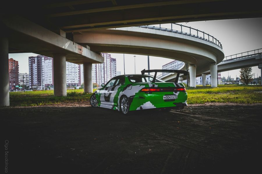 Transportation Car Mode Of Transport Architecture Road Street Bridge - Man Made Structure Green Color No People Wheels Toyota Transportation Carporn Jdm Automotive Automotive Photography JDM Cars Mark2 MarkII Jzx90 Drift Driftcar Tourerv