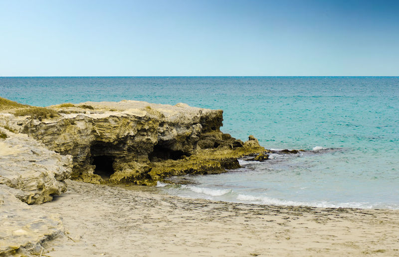 San Foca Cliff Lecce Beach Clear Sky Cliff Color Fish Horizon Horizon Over Water Land No People Ocean Rocks Salento Sea Sea And Sky Sky Summer Water EyeEmNewHere Adventures In The City Focus On The Story