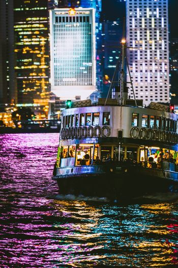 Cruise Nightshooters Reframinghk Artisanandartist Discoverhongkong Building Exterior Architecture Illuminated Built Structure Night City Water Building Transportation Reflection Nature Mode Of Transportation Office Building Exterior Street Outdoors No People Travel Destinations Travel City Life Modern
