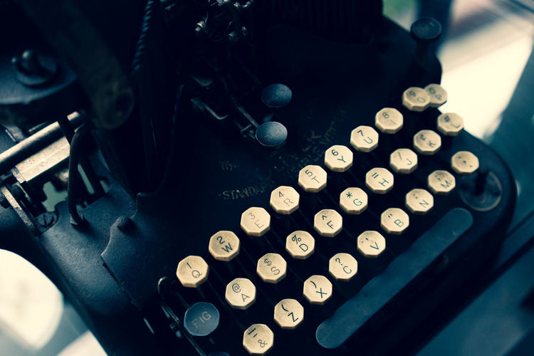 High angle view of old typewriter
