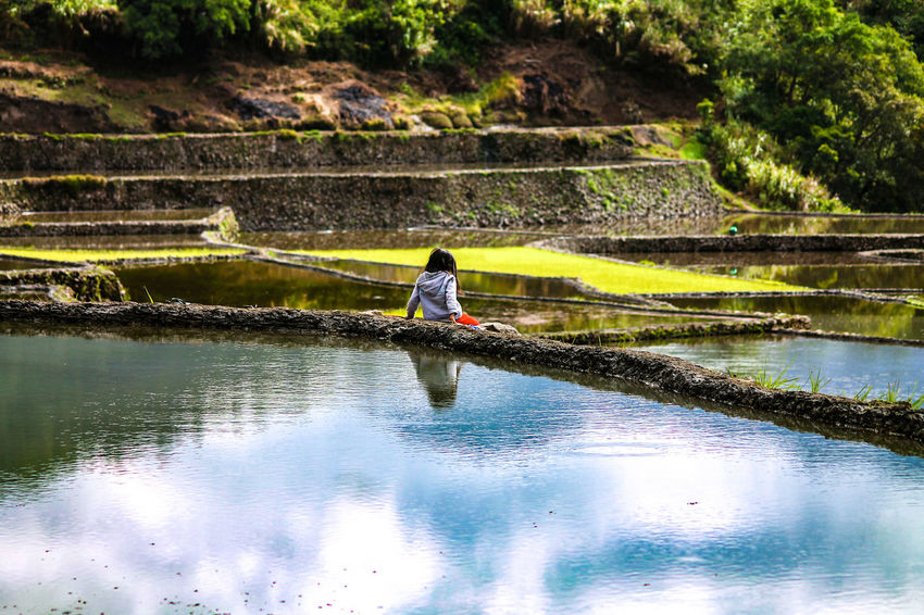 Rear View Water Reflection One Person Beauty In Nature People Child Solitary Figure EyeEm Best Shots - People + Portrait Outdoors Cloud Reflection On Water Tinglayan, Philippines Rice Paddy Serenity Serenity Nature_collection Nature_collection
