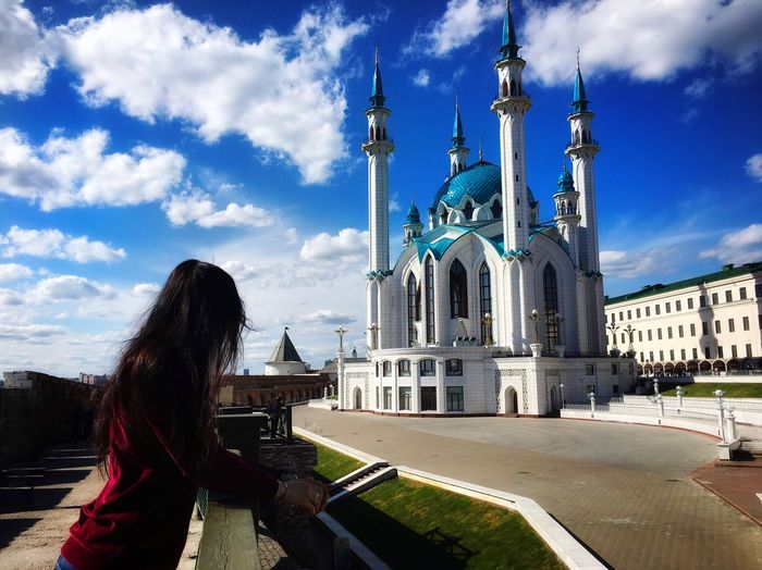 Sky Built Structure Architecture Building Exterior Cloud - Sky Religion Real People Belief Place Of Worship Travel Nature Building Tourism Spirituality Women One Person Day Lifestyles Travel Destinations Outdoors