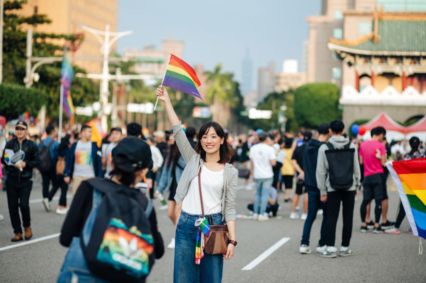Taipei, Taiwan - Oct 28, 2017: Hundreds of thousands came out on streets of Taipei for the 15th Taiwan Pride Parade. The parade started marching from Ketagalan Boulevard to three different avenues and made Taipei even more colorful with all shades of rainbow. This year's goal is to promote inclusive education as it would lead to better acceptance. Taiwan is about to be the first in Asia to officially legalize 'equal marriage'. Gay Pride LGBT Rainbows LGBT Rainbow Rainbowflag Taipei Pride Taiwanese Gay Pride Parade Gaypride Lgbt Flag Lgbt Pride Lgbtpride Loveislove Lovewins Pride2017 Prideparade Rainbow Taiwan Pride Taiwanpride Taiwanpride2017 This Is Queer The Troublemakers Love Is Love