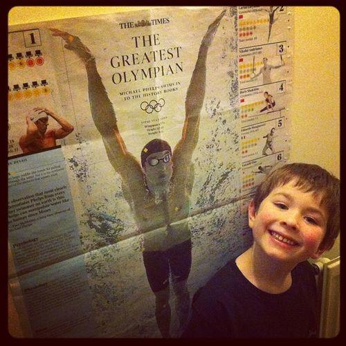 Mini G hero worship #5yrold #olympicdreams #swimming #inspiration michaelphelps Swimming Inspiration Olympicdreams 5yrold