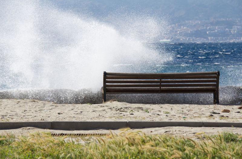 Captured Moment Urbanphotography From My Point Of View Reggio Di Calabria ReggioCalabria Stretto Di Messina Sea Seaside Waves Bench