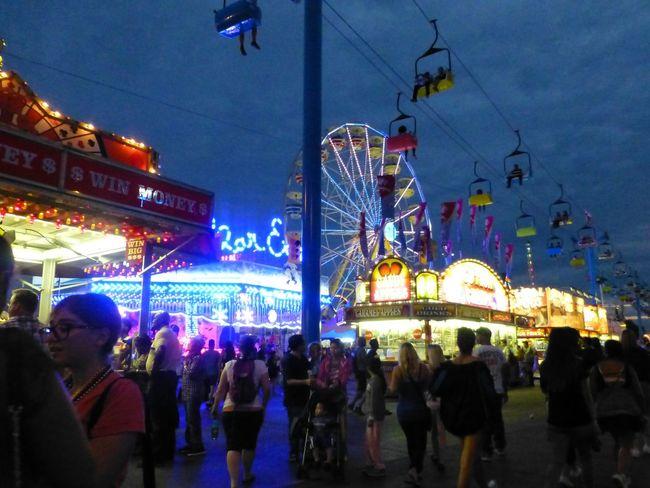 Large Group Of People Celebration Night Illuminated Crowd Outdoors People The Ex Ferris Wheel Ski Lift