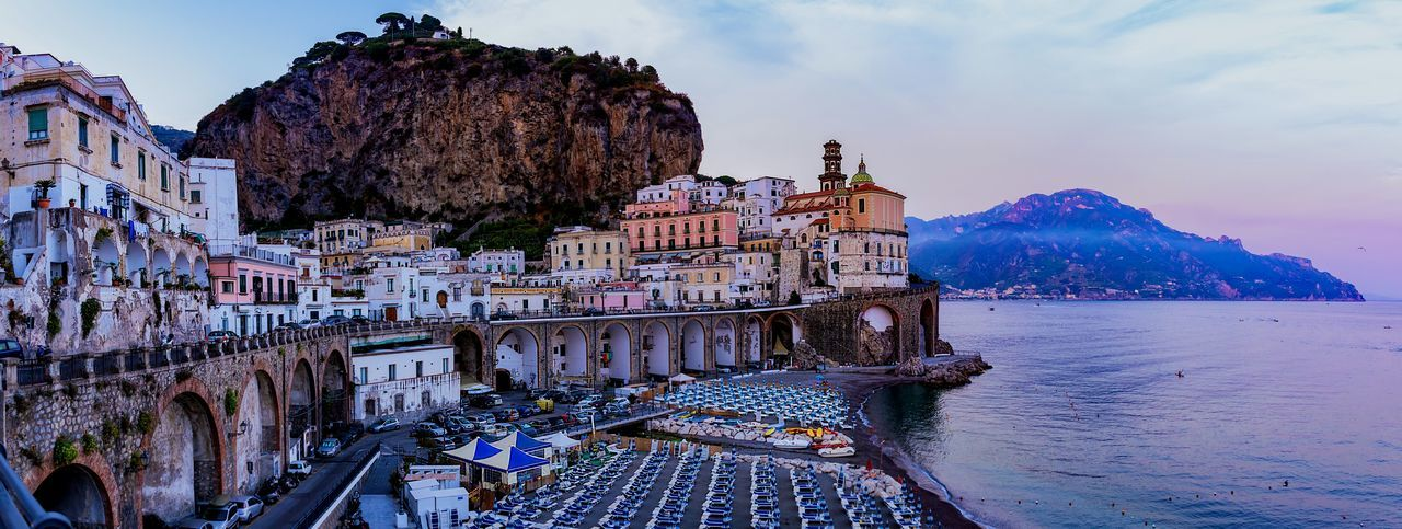 Atrani panorama Tyrrhenian Sea Comune Atrani Amalfi Coast Province Of Salerno Architecture Seaside Seascape Panorama Cityscape Italy 🇮🇹 Campania Cityscapes Vacation Holidays Summer Mountains Beach Water Sea Sky Outdoors Mountain Built Structure Colour Your Horizn Stories From The City