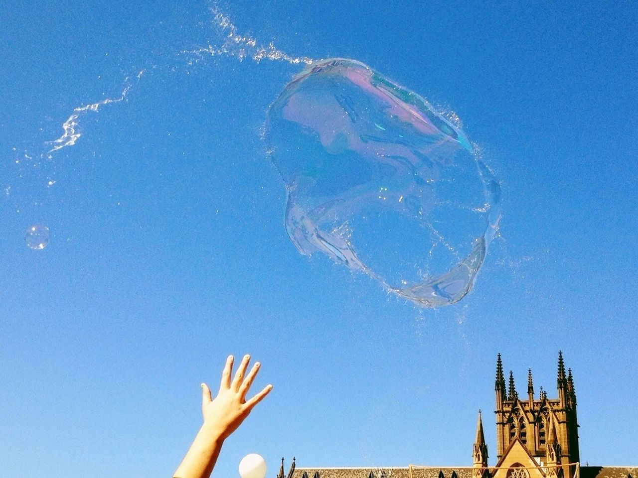 Bubble against clear sky