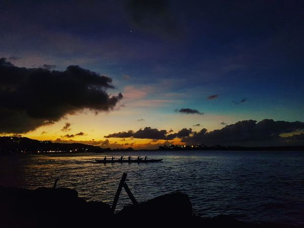 Water Sunset Sky Nature Tranquility Silhouette Island Life Canoe In The Sea