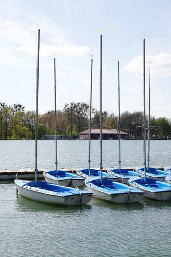 Boat Germany Hannover Jetty Lake Leisure Activity Maschsee Moored No People Outdoors Sailboat Sailing Water
